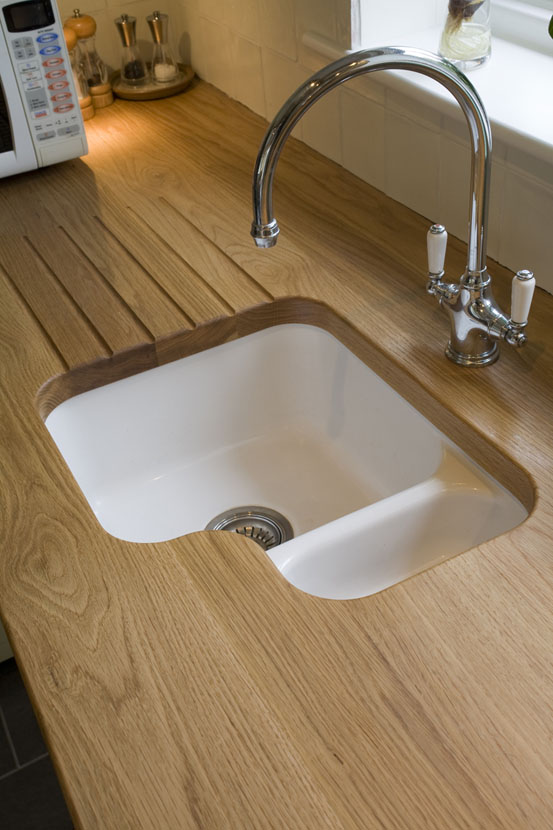 Oak Sink Top With Draining Grooves Bordercraft
