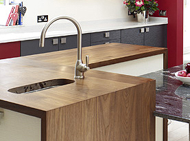 Walnut Worktop with Mitred Downstand