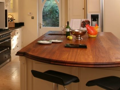 Iroko Worktop with Breakfast Bar
