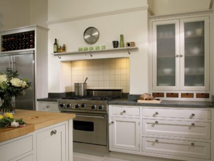 Maple worktop with waste chute